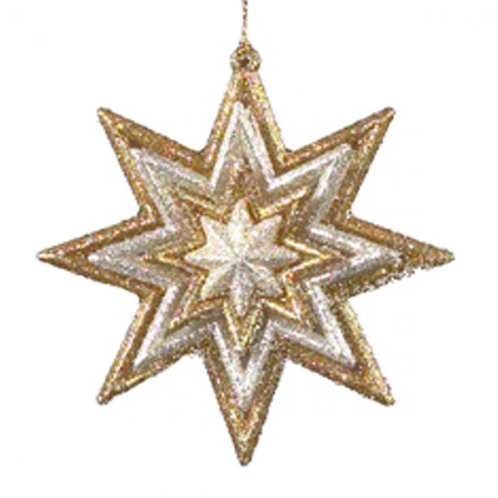 Gold floral star snowflake christmas ornament