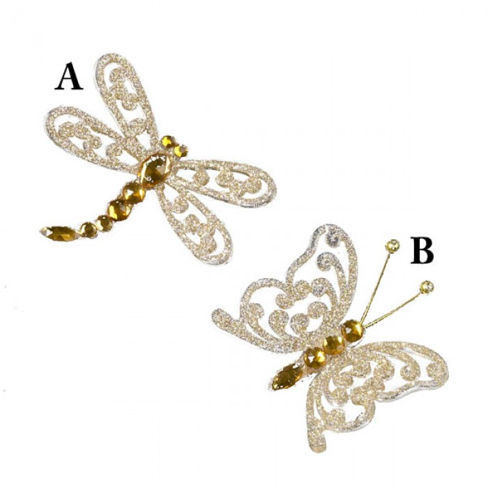 Champagne Gold Glittered Acrylic Butterfly or Dragonfly Christmas ...