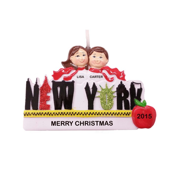 New York Word Couple Personalized Christmas Ornament  Christmas