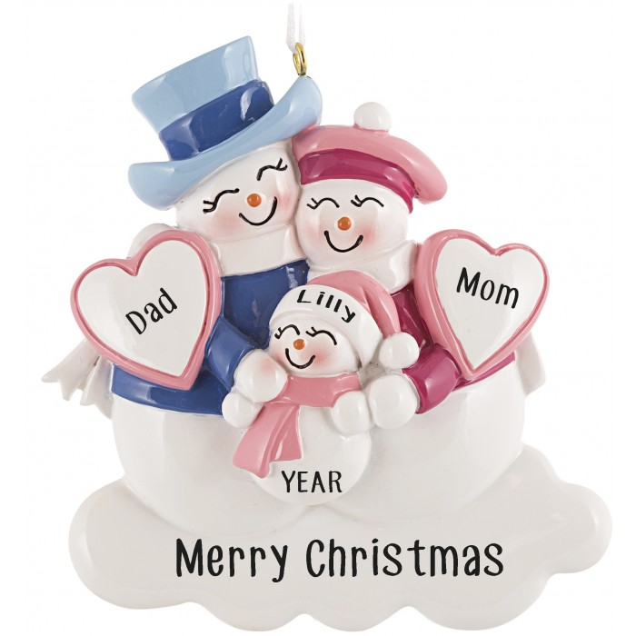 Snowman Family With New Baby Pink Personalized Christmas ...