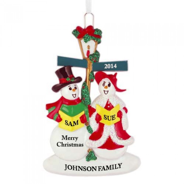 Joy And Noel Holiday Caroler: Snowman Caroler Family Of 2 Personalized Christmas