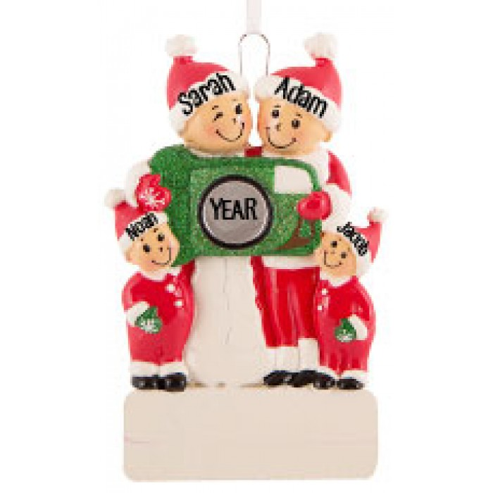Camera Family of 4 Personalized Christmas Ornament