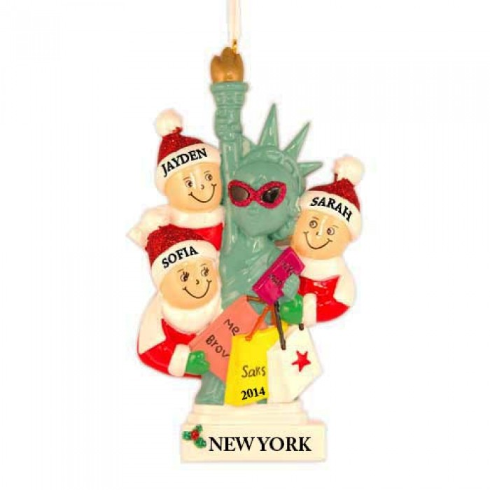 NYC Lady Liberty Family of 3 Personalized Christmas Ornament