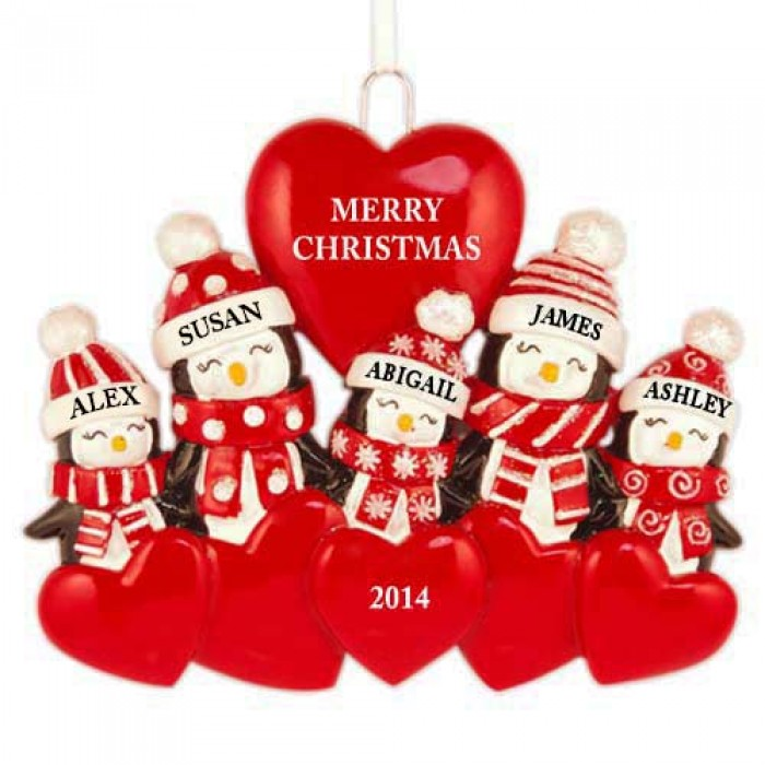 Bear Love Family of 3 Personalized Christmas Ornament  Christmas