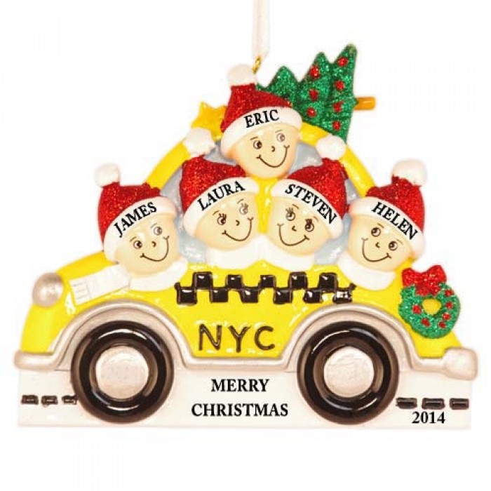 NYC Taxi Family of 5 Personalized Christmas Ornament  Christmas