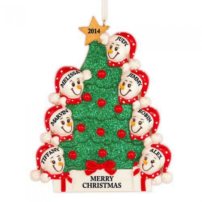 Tree snowman family of 7 personalized christmas ornament for Custom christmas tree ornaments