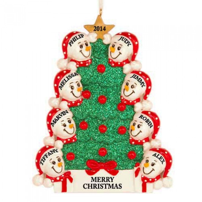 Tree snowman family of 8 personalized christmas ornament for Custom christmas tree ornaments