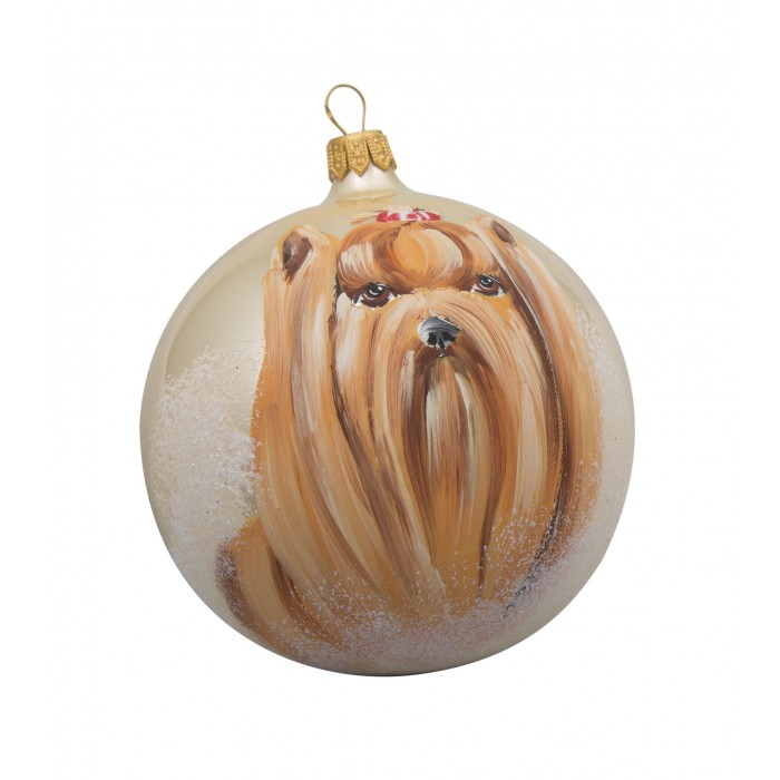 Yorkie (Yorkshire Terrier) Glass Ball Christmas Ornament
