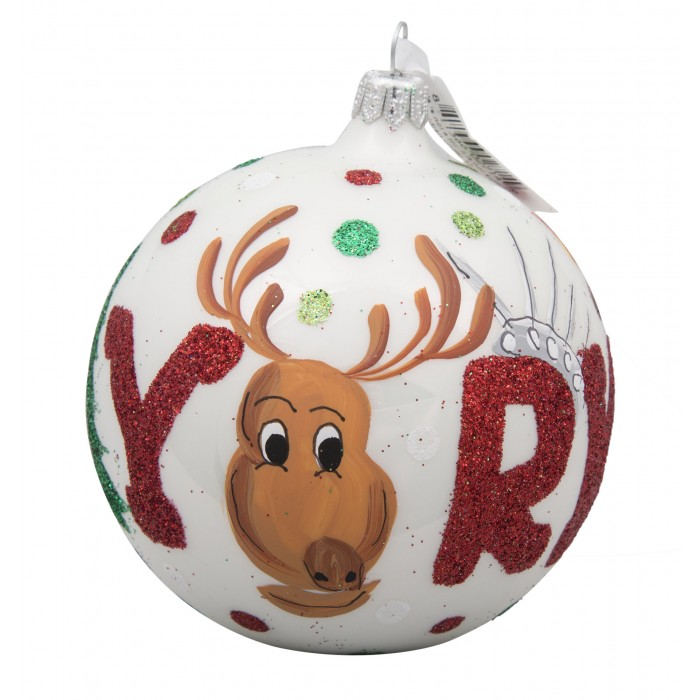 Nyc Reindeer Glass Ball Christmas Ornament