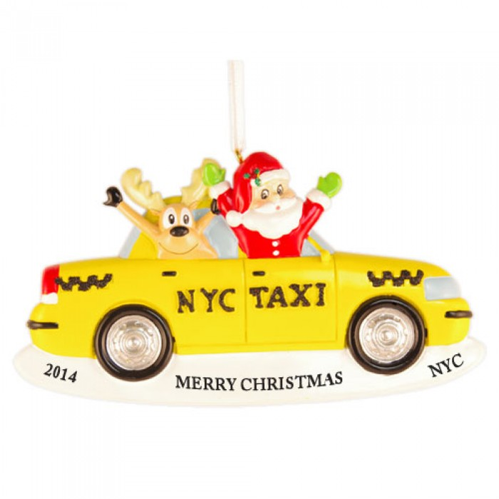 Boston Christmas Tree Delivery: Santa And Reindeer Taxi Personalized Christmas Ornament