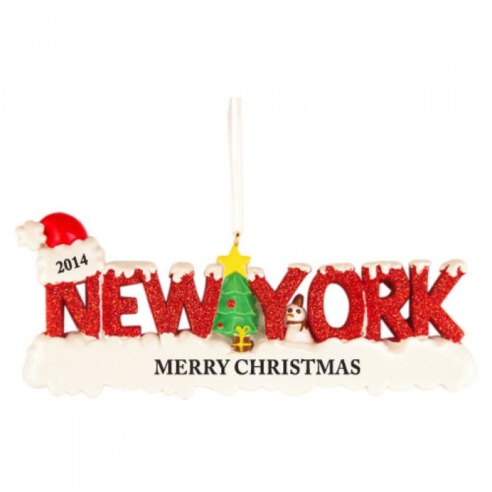 Nyc Christmas Tree Delivery: New York Word Personalized Christmas Ornament
