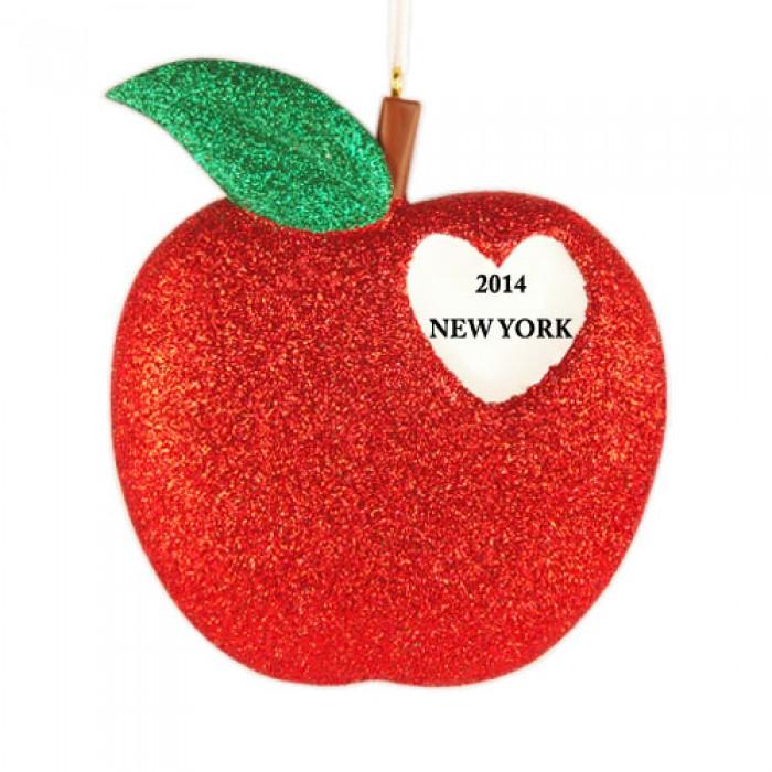 New York Heart Glitter Personalized Christmas Ornament  Christmas