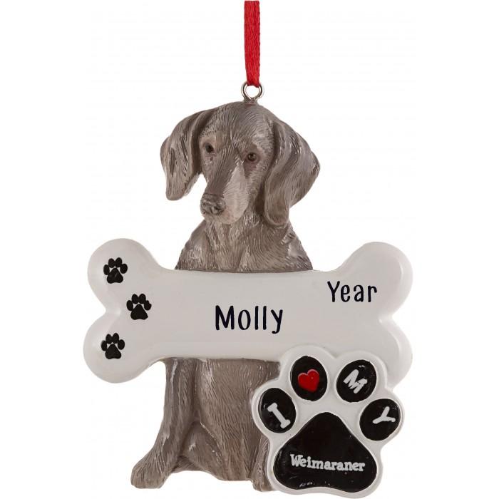 Weimaraner Dog Personalized Christmas Ornament