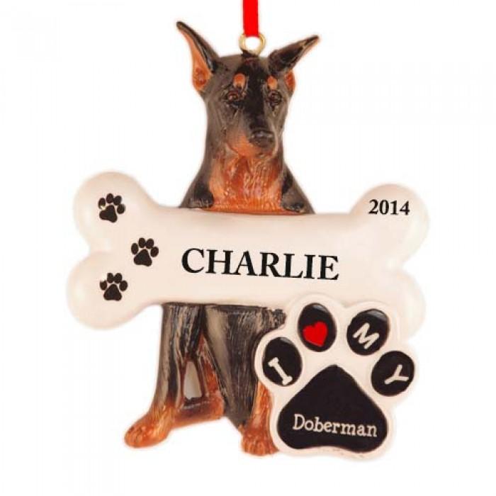Doberman Dog Personalized Christmas Ornament  Christmas and City