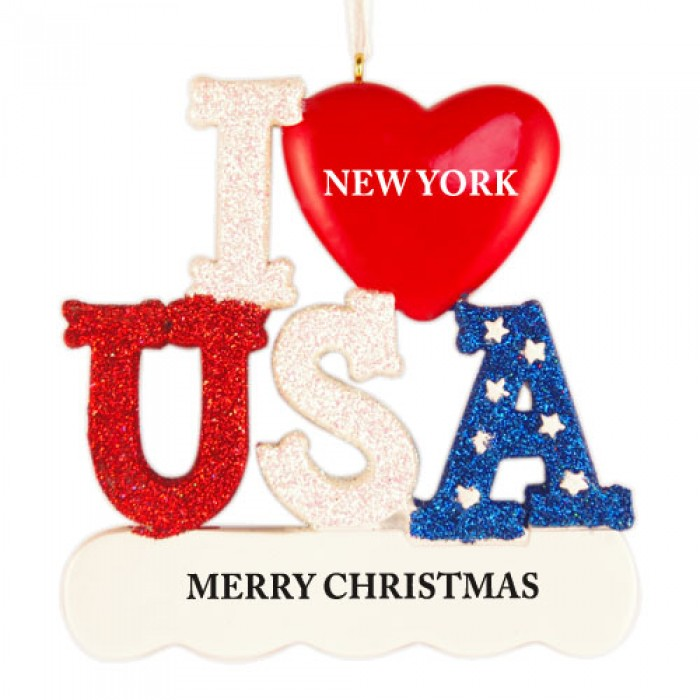 I Love USA Personalized Christmas Ornament