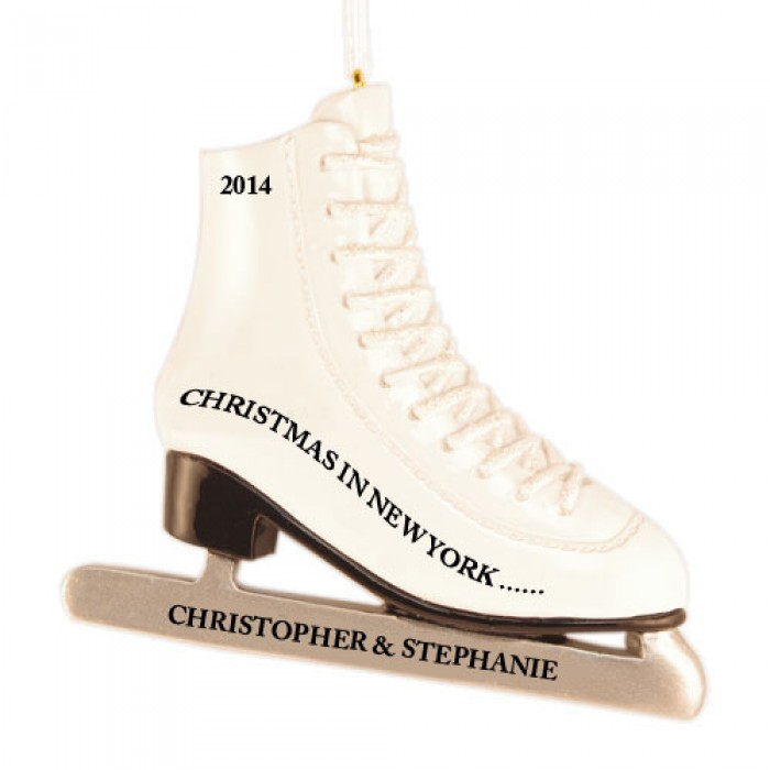 Ice Skates Personalized Christmas Ornament - Christmas and City