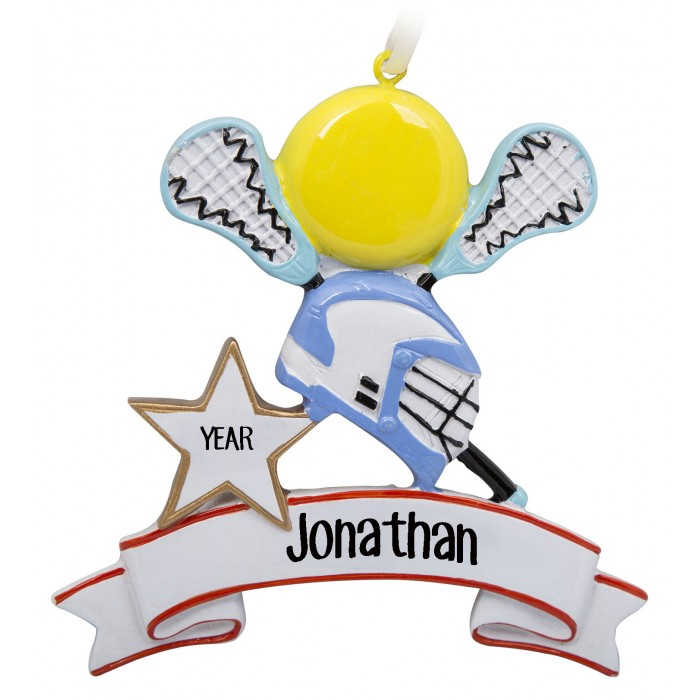 Lacrosse Blue Personalized Christmas Ornament  Christmas and City