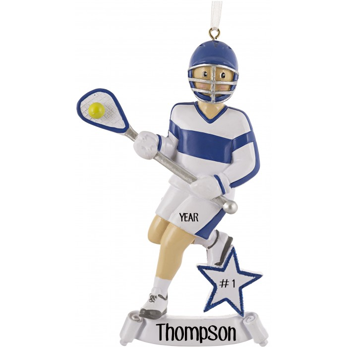 Lacrosse Boy Blue Personalized Christmas Ornament  Christmas and City