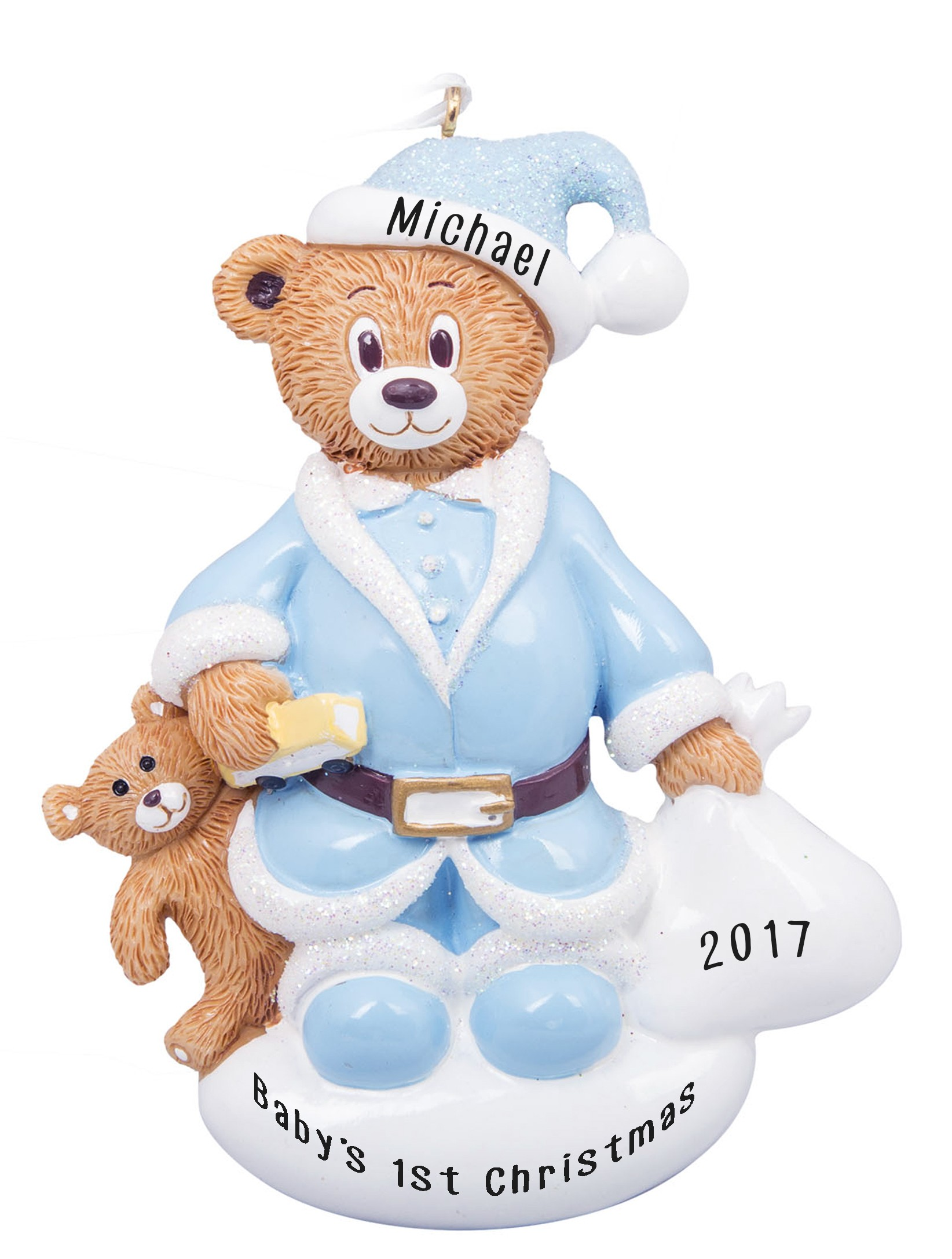 Santa Bear Boy Personalized Christmas Ornament