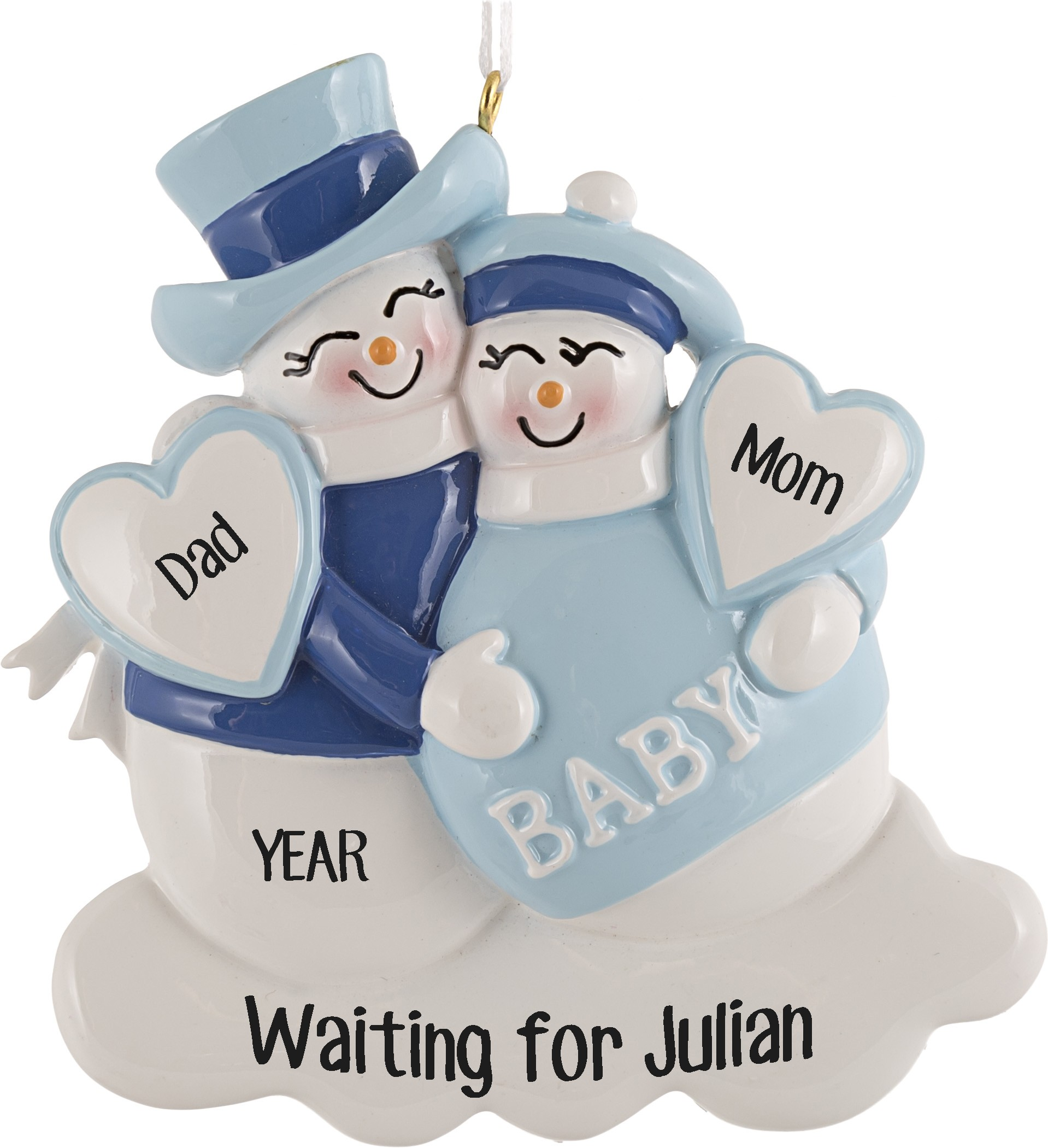 Expecting Snowman Blue Personalized Christmas Ornament