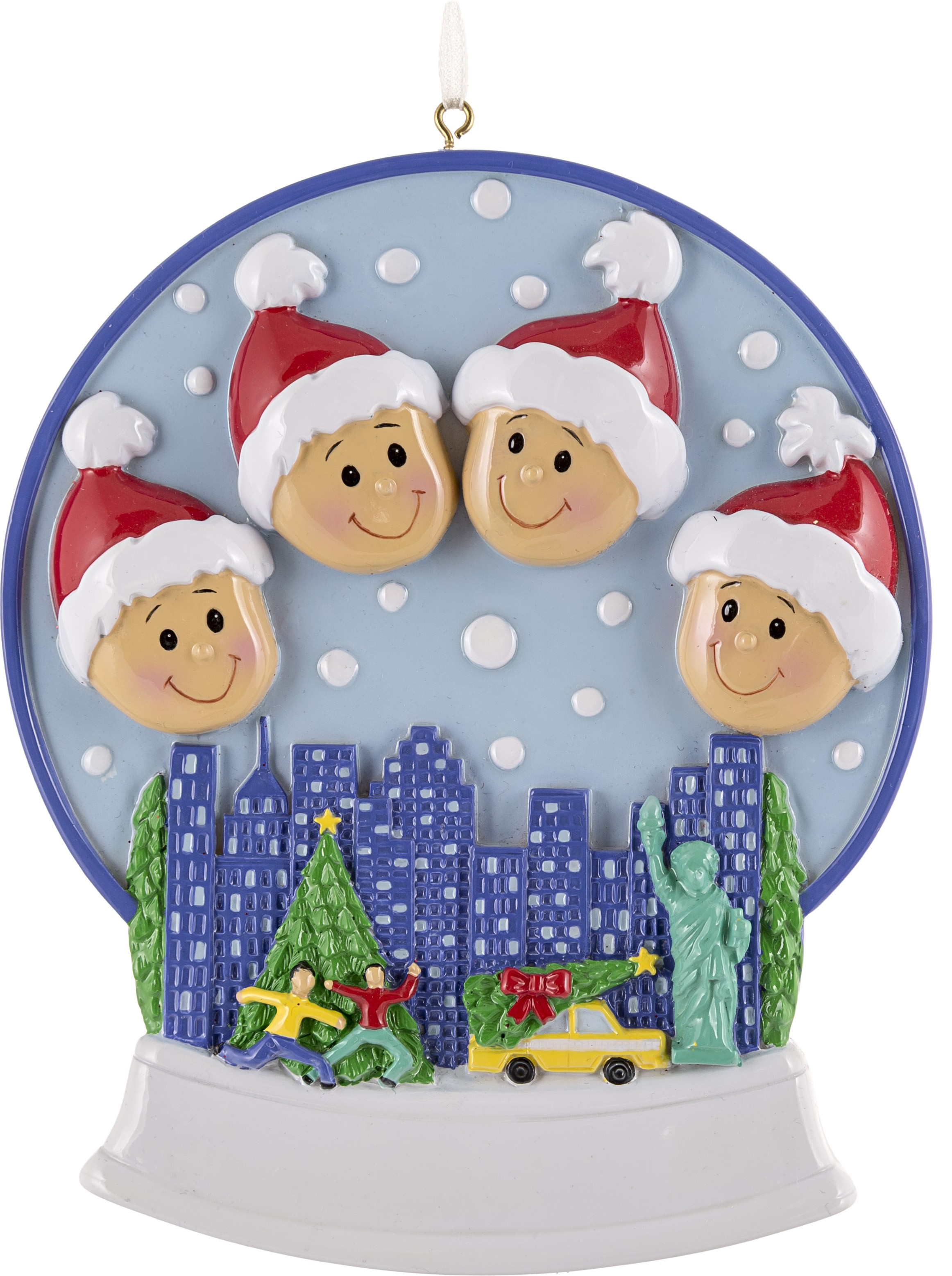 Snow Globe Family-4 Personalized Christmas Ornament