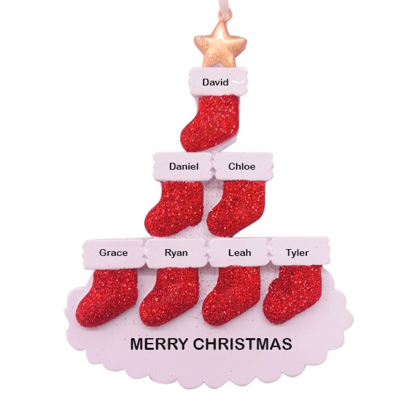 Stocking Tree Family of 7 Personalized Christmas Ornament