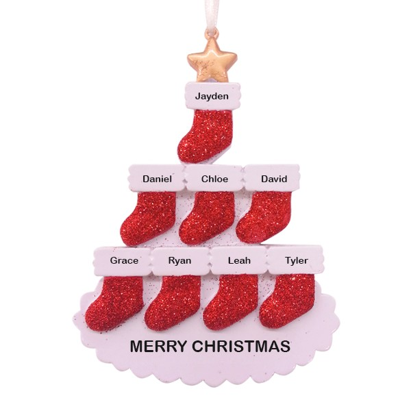 Stocking Tree Family of 8 Personalized Christmas Ornament