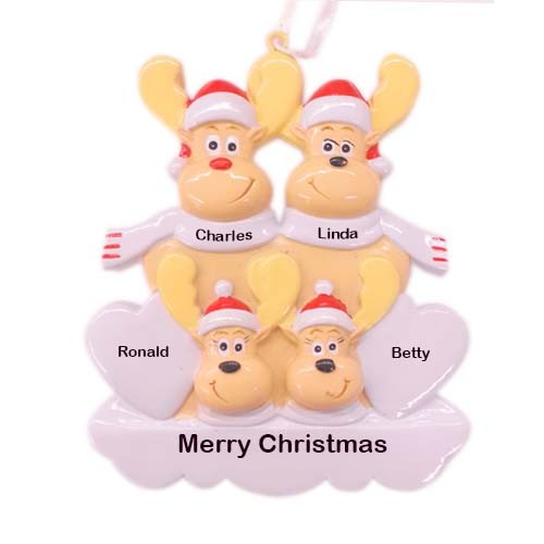 Sweet Reindeer 4 Family Personalized Christmas Ornament