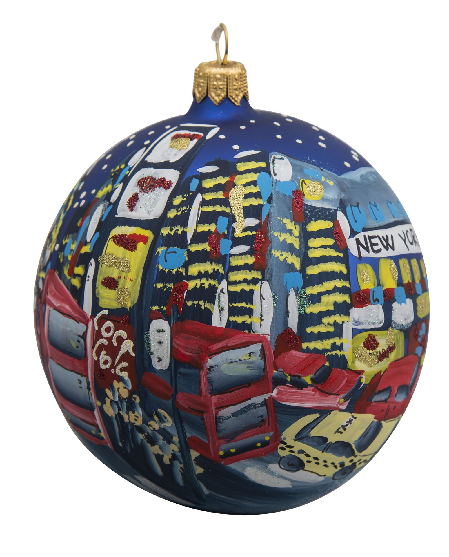 NYC Times Square with Taxi Blue Glass Ball Christmas Ornament