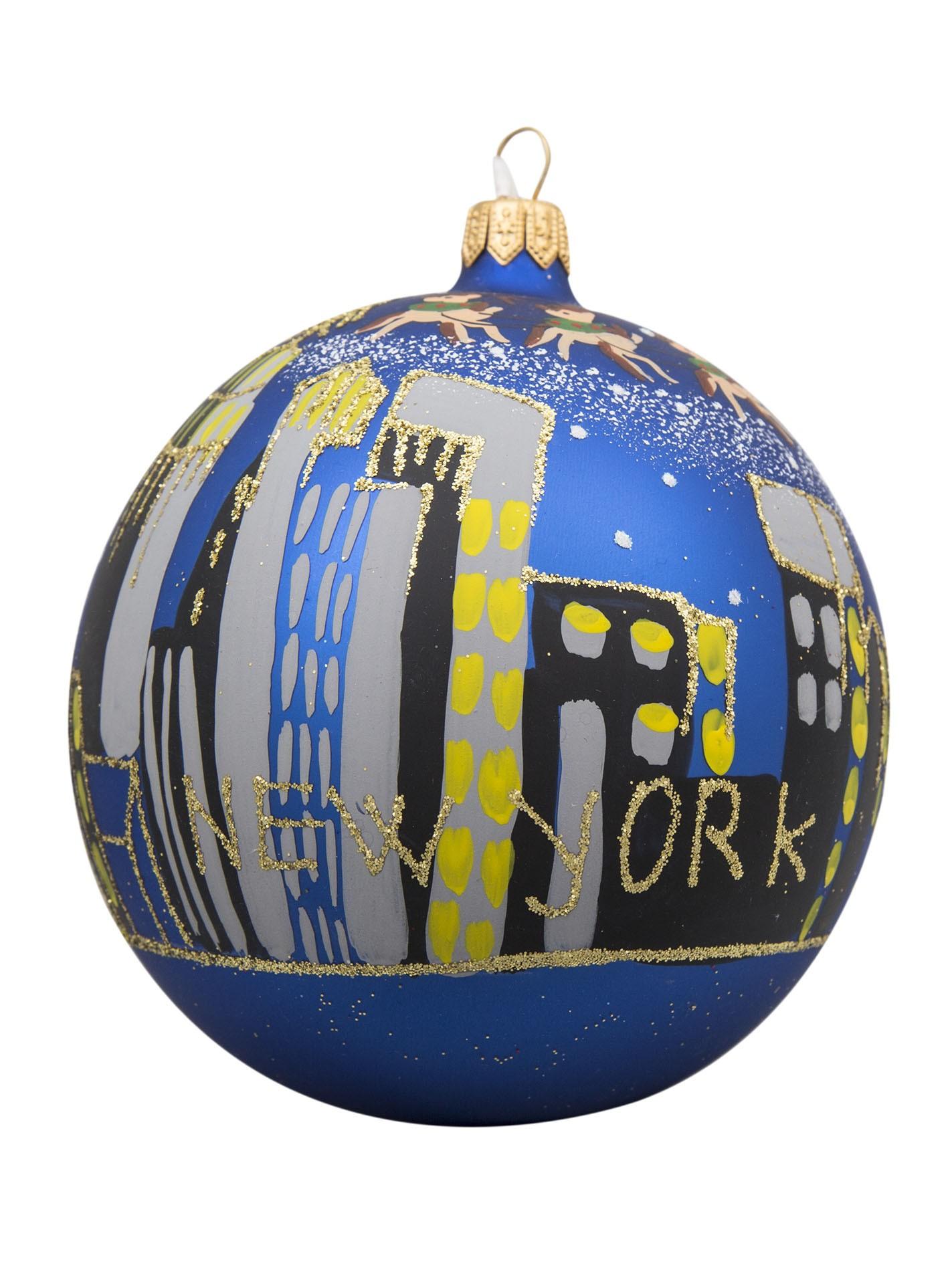 NYC Skyline with Santa Sleigh Blue Glass Ball Christmas Ornament