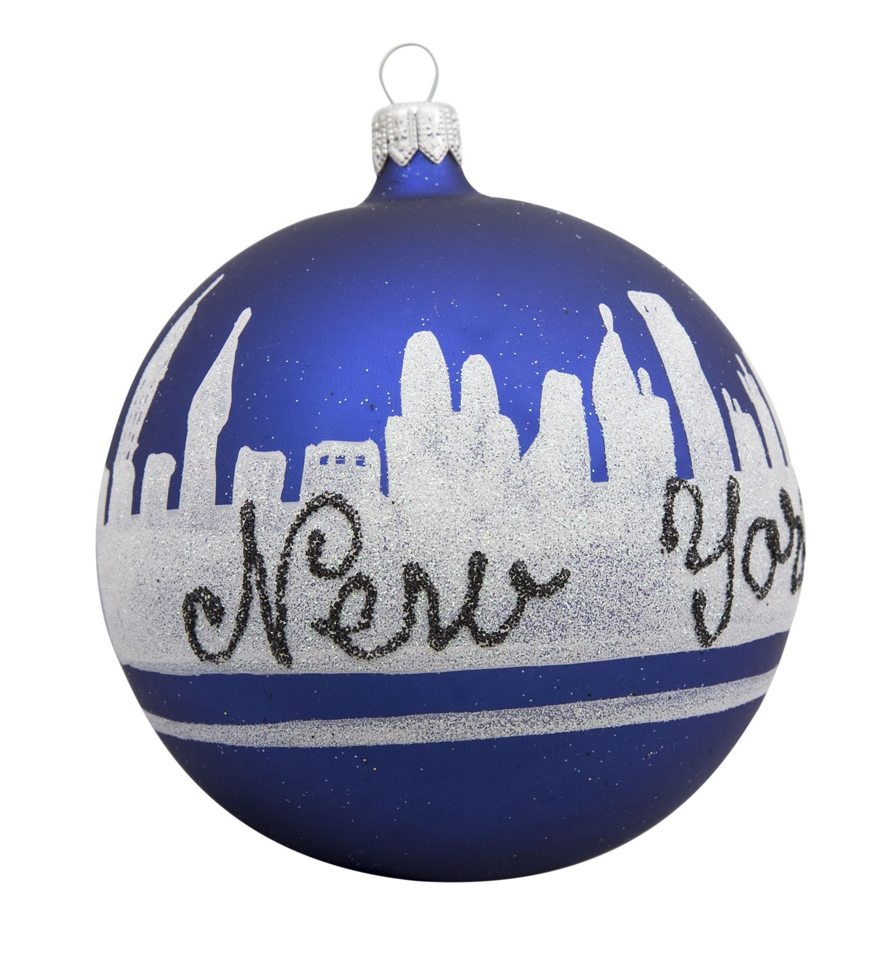 NYC Line Blue Glass Ball Christmas Ornament
