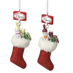 Wine Bottle, Wine Glass & Grapes Filled Christmas Stocking Ornament