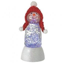 Mini Shimmer Snowman with Red Knit Cap