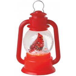 Lighted Bright Red Virginia Cardinal Bird Lantern Mini Shimmer