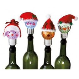 Lighted Holiday Hat and Fabric Bottle Stopper