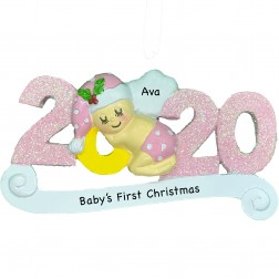 Image of 2020 Baby Girl Personalized Christmas Ornament