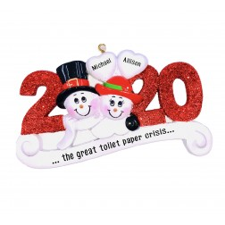 Image of Year Snowman Red Personalized Christmas Ornament