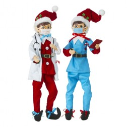 "Image of 16"" Posable Doctor and Nurse Elf"