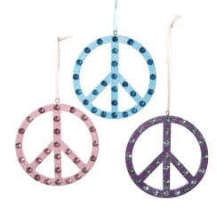 Peace Sign with Clear Stone Ornament