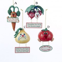 Resin Veggie with Saying Ornament