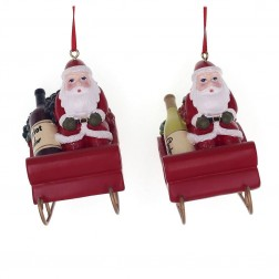"Image of 3.25""Resin Santa On Sleigh Orn 2/A"