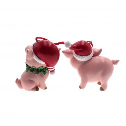 "Image of 2""Res Pink Pig W/Santa Hat Orn 2/A"