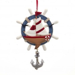 "Image of 5""Nautical Boat W/Wheel+Anchor Orn"