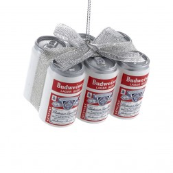 "Image of 1.75"" Budweiser® Vintage Can 6-Pack with Bow Ornament"