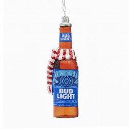 """5"""" Budweiser® Bud Light Beer Bottle With Scarf Glass Ornament"""