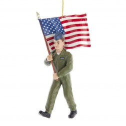 """Image of 5.75""""Air Force Soldier+Americn Flag"""