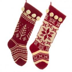 Image of Red/White Knit Stocking 2/Asstd