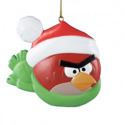 Red Bird With Santa Hat & Scarf Christmas Ornament