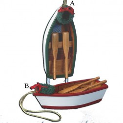 "Image of 4"" Wooden Row Boat Ornaments"