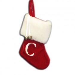 "Image of 7""Red/Wht Monogram ""C"" Mini Stockng"